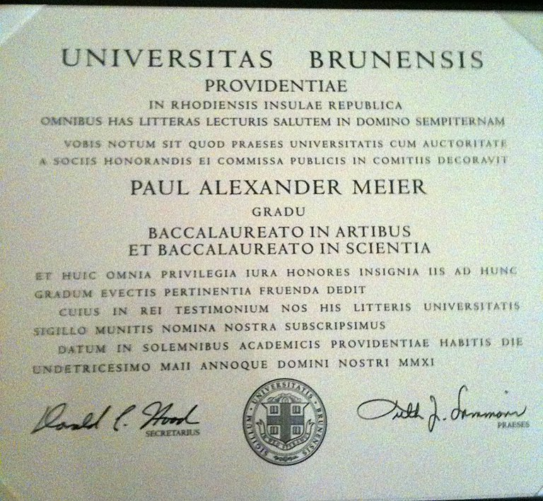 My Brown degree.