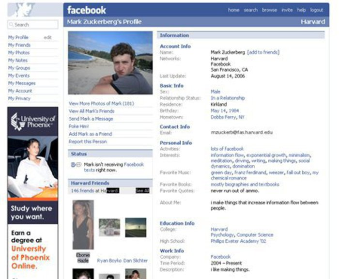 Screenshot of FB in 2006.