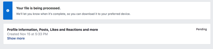 Facebook screenshot saying they're preparing my download 2 days after I requested it. Click for full size.