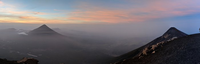 View from the summit at Acatenango at Dawn. Click for full size.