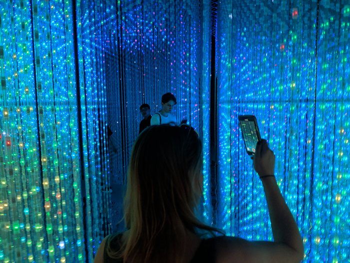 Karen and another tourist mesmerized by LED strips + mirrors.. Click for full-size image.