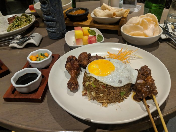 Photo of nasi goreng with a fried egg on top. Click for full-size image.