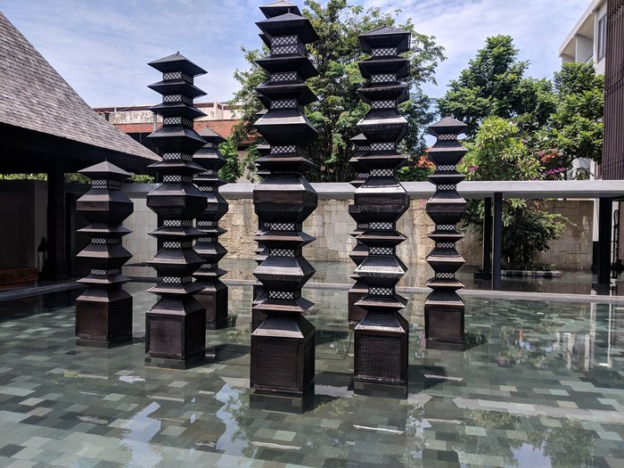 A fountain sculpture looking like little buildings. Click for full-size image.