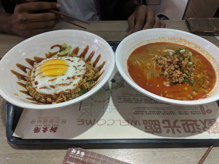 Two bowls, one with fried rice, the other with ramen. Click for full-size image.