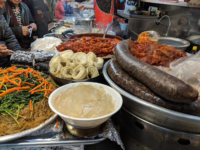 A stall with a ton of colorful Korean food. Click for full-size image.