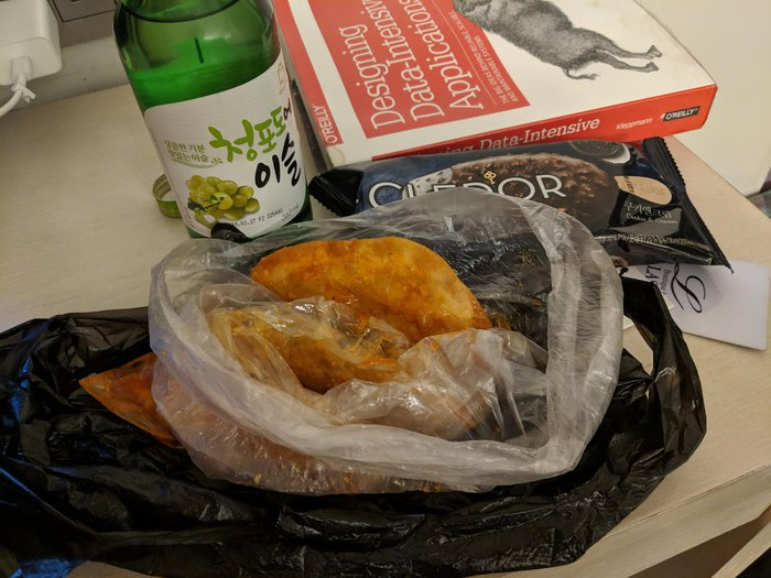 Cheap dumplings and a bottle of soju. Click for full-size image.