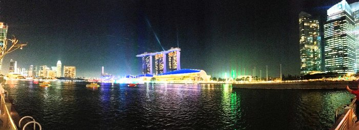 Nighttime Panorama of the Marina Bay Sands + Skyline. Click for full-size image.