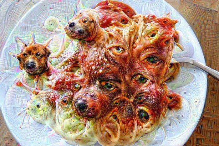 Deep Dream of spaghetti and meatballs, with dog heads. Click for full size.