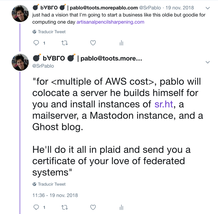Old tweet of mine where I speculate on starting a hipster business to run personal servers for people with a lot of this software.
