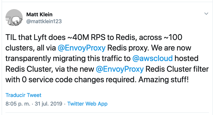 Matt Klein's Twitter post noting 40m rsp on Redis at Lyft.