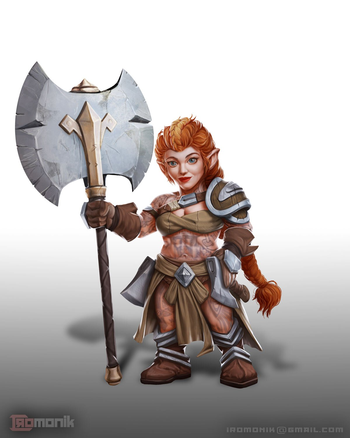A cute female gnome barbarian, with an axe bigger than her head.