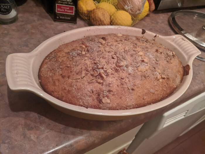 "Baked banana bread ""loaf"". Click for full size."