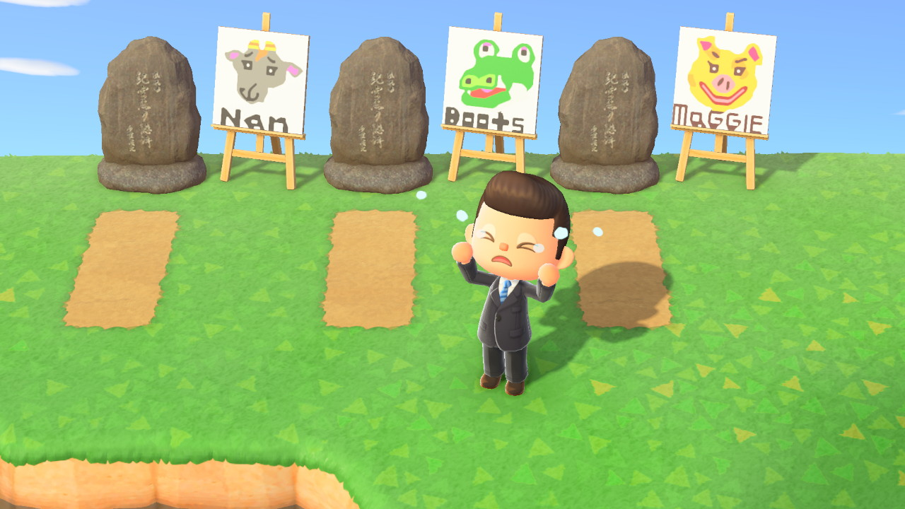 Animal Crossing screenshot of Pablo crying over the graves of three villagers.