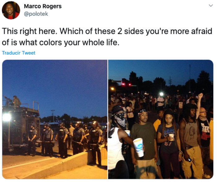 "Polotek on Twitter; ""This right here. Which of these 2 sides you're more afraid of is what colors your whole life."", with a photo of heavily armed police, and another photo of young Black people."